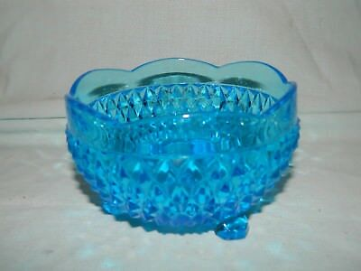 Indiana Glass Ice Blue Diamond Point 3-Footed Scallop Top Edge Candy Dish