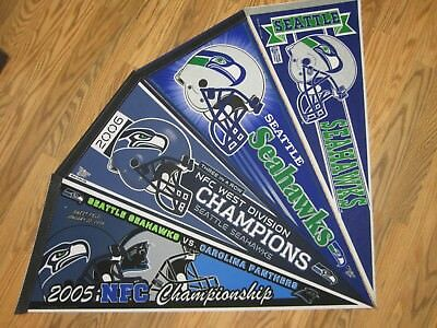 Lot Of 4* Seattle Seahawks Vintage Nfl Pennant Full Size Shipped Flat