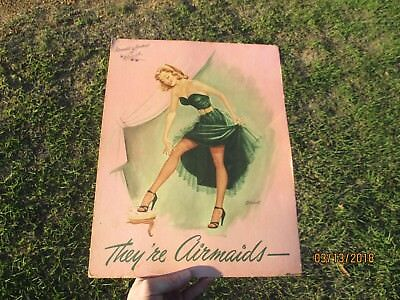 Rare Vintage Airmaid Hosiery Cardboard Easel Advert Sign Risque Graphics Dallas