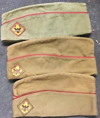 3 Early Boy Scouts Of America Logo BSA Vintage Green Red Line Uniform Hat S M L