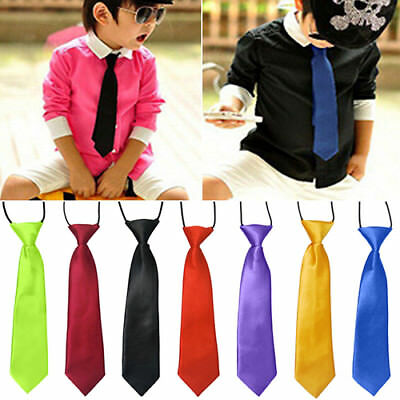 School Boys Kids Children Baby Wedding Banquet Solid Colour Tie Necktie Clever