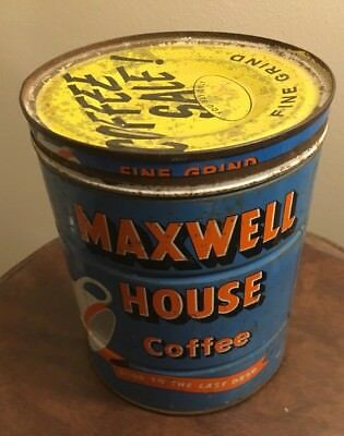 Maxwell House Fine Grind Coffee Tin Can Key VTG ADVERTISING SIGN METAL SALE 2 Lb
