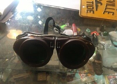 Antique WILLSON Kover-mor Goggles Safety Glasses VTG Welding SHIELD BAKELITE Grn