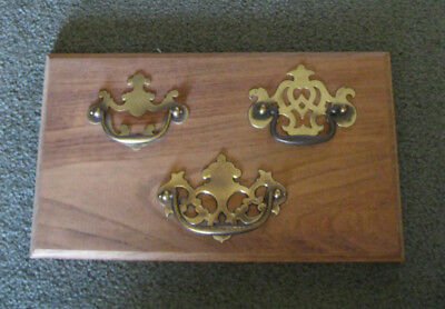"ANTIQUE BRASS DECORATIVE DRAWER HANDLE PULLS MOUNTED ON APPROX. 8 x 13.5"" BOARD"