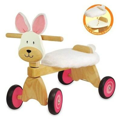 New I'm Toy Wooden Paddie Bunny Rider Ride On Toddler Toys Rabbit Trike Easter