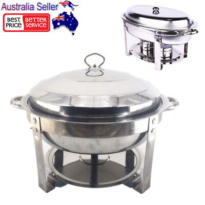 Round/Oval Stainless Steel Bain Marie Chafing Dishes Buffet Food Heater Warmer