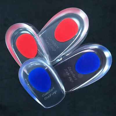 Silicone Gel Shoes Pads Cushion Heel Cup Insoles Massager Inserts Heel Pain Spur