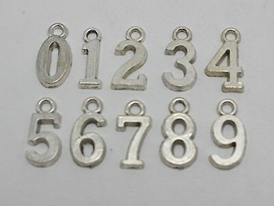 "50 Tibet Silver Alloy Alphabet Letter ""0-9"" Charm Pendants 12mm Craft Jewelry"