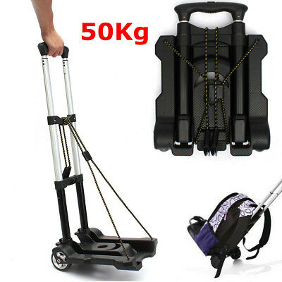 50kg Aluminium Folding Travel Luggage Cart Trolley Hand Truck Portable Shopping