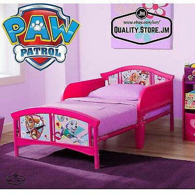 Toddler Beds For Girls Bedroom Furniture Kids Paw Patrol Pink Bed With Rails New