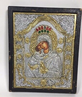 Russische Ikone russian icon icona mother of god - Gottesmutter metal or silver?