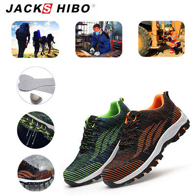 JACKSHIBO Womens Work Outdoor Safety Steel Toe Shoes Mesh Breathable Sneakers