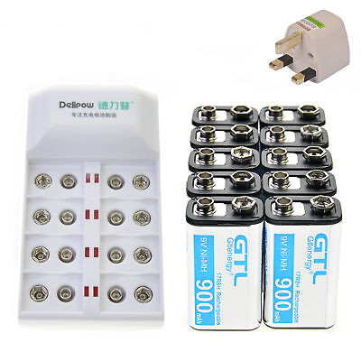 10 pcs 9V 9 Volt 900mAh Power Ni-Mh Rechargeable Battery Cell PPS with charger