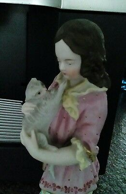 Antik Porzellanfigur Biedermeier boy cat porcelain 19th eme antique