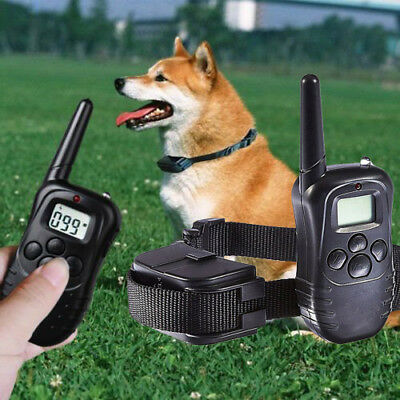 100LV Dog Collar LCD Pet Training Electric Shock Vibration W/ Remote Control NEW