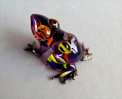 Purple Frog Hand Painted Miniature Glass Animal Figurine Collectible Decor FS