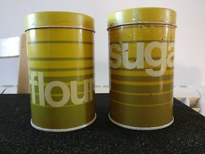 Vintage Retro GT DESIGNS Flour & Sugar Sifters Tin Shaker Storage Green Yellow