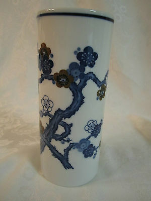 """Asian Oriental Cherry Blossoms Vase 7"""" cylinder Blue & brown on white"""