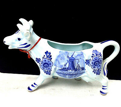 Vintage Dutch Delft Light Blue Cow Milk Jug Holland