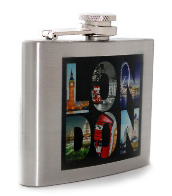 British 4oz Icons London Stainless Steel Boxed Hip Flask Wedding Gift