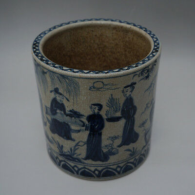 China Old Blue And White Porcelain Figures Brush Pot Marks WanLi Ming Dynasty