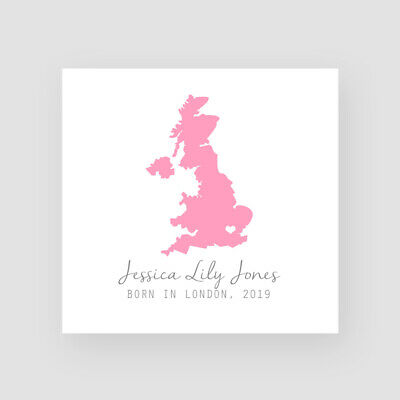 Personalised Handmade Map Newborn Baby Girl Card - For Her, New Baby, Birth