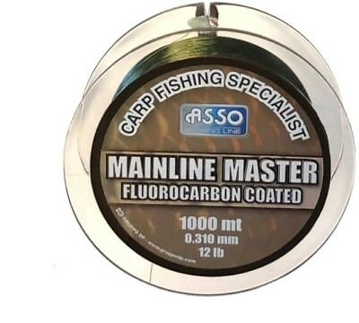ASSO NEW Mainline Master CARP Fishing Line  - 1000m Spool - Fluorocarbon Coated