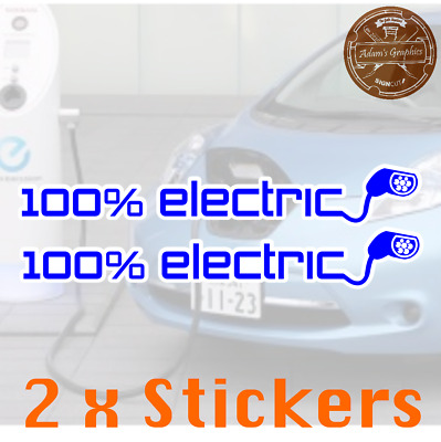 100% Electric Car Vehicle EV Sticker - type 2 charging LEAF tesla i3 zoe nissan
