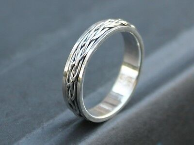 Mens Ladies 925 Sterling silver Celtic Spinner ring 5mm band Father's day gift
