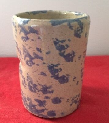 Vintage Collectible Ky Bybee Pottery Blue White Pencil Toothbrush Holder Crock
