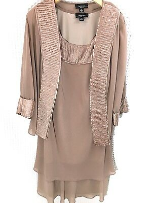 Women's R & M Richards Size 18 W 2 Piece Elegant Formal Gown & Jacket, Tan Taupe