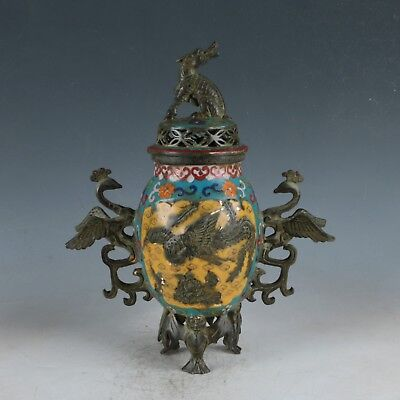Exquisite Cloisonne Handmade Carved Phoenix Incense Burner & Beast Lid DY448