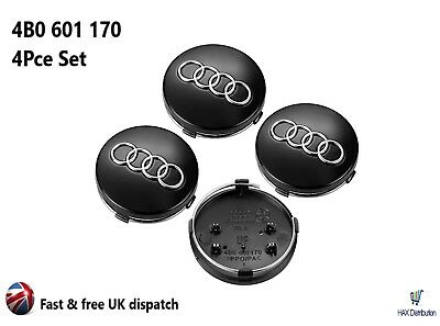 Audi Alloy Wheel Centre Caps x4 60mm Black 4B0601170 A 1 2 3 4 5 6 7 8 Q RS TT
