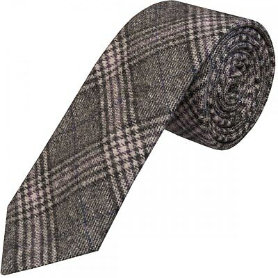 Handmade Light Grey Check Tweed Classic Tie Regular Tweed Tie Normal Tweed Tie