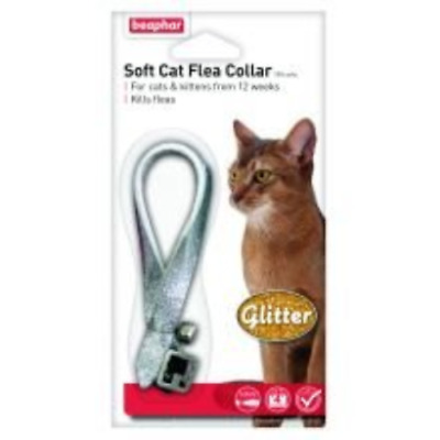 Beaphar Glitter Soft Cat Flea Collar 16 Week Protection Red Black Silver Bell