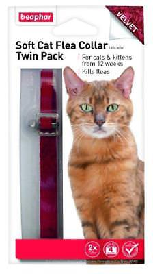 Beaphar Velvet Soft Cat Flea Collar Twin Pack 16 Week Protection Red Bell