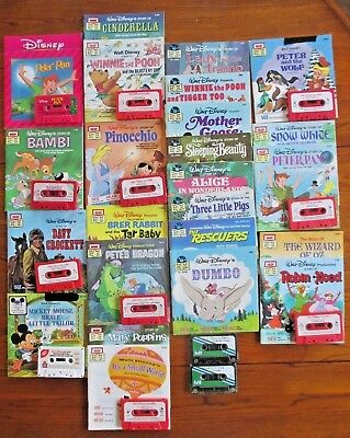 Lot of 24 Childrens Disney Read Along Story Books w Cassette Tapes Educational