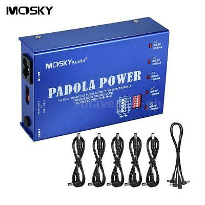 MOSKY 5 Isolated Outputs Guitar Effect Power Supply Station for DC 9V 12V J2T1