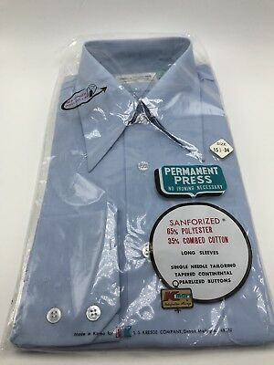 Vintage Kmart Blue Mens Shirt  15 1/2-34 NEW Old Stock