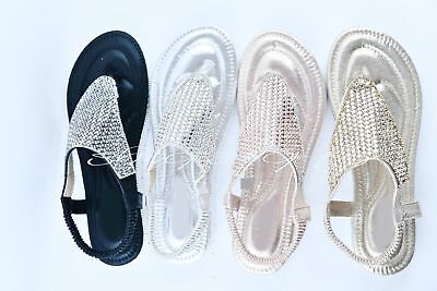 719c3921eb1 Ladies Diamante Sandals Womens Summer Wedge Slip Flip Flops Sling Back NEW  Flat