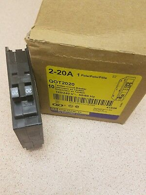 New Square D  Qot2020 1 Pole 20/20 Amp 120/240 Volt Circuit Breaker