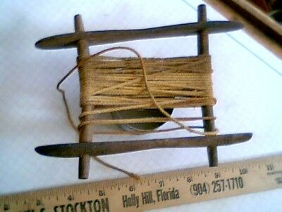Fishing Hand Line Reel hand made antique vintage old peg construction decorated