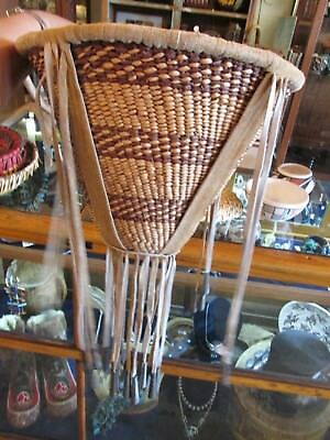 Apache Burden Basket LARGE Authentic Native American Made Deer Leather
