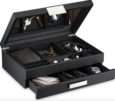 Mens Valet Dresser Organizer Luxury Tray for Watches Glasses Carbon Fiber Design