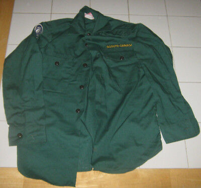 Scouts Canada Official Green Troop Scout Long Sleeved Shirt Boys Size 12-12.5