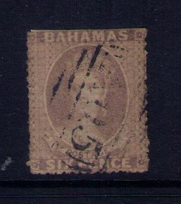 Bahams, 1861 QV 6p Gray Lilac Stamp Sc# 4 Perf.15 ,Used, CV:$700