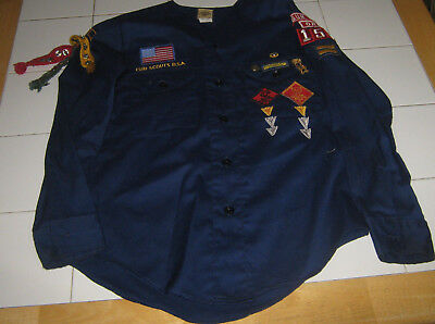 Boy Scouts of America BSA Official Shirt Cubs Collarless, Long Sleeved Navy Blue