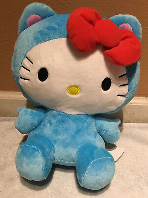 "NWT UFO Catcher Round 1 Exclusive Hello Kitty Plush 10"" Blue Bow Tie Cat"