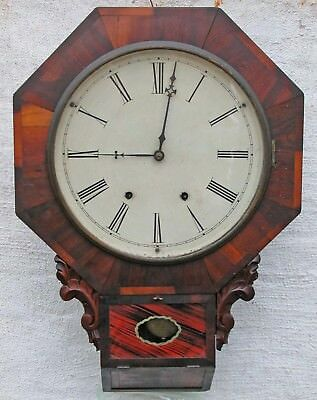 Antique Henry Sperry Wall Regulator Clock Short Drop Octagonal Time Strike c1855