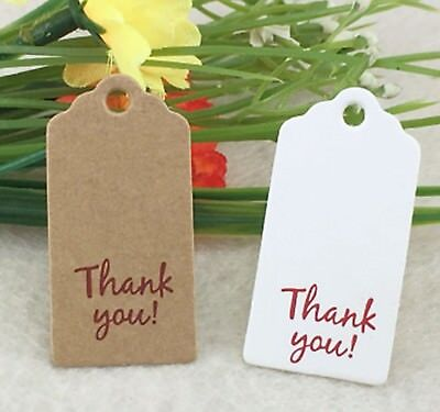 Thank You Craft White Brown Rectangle Labels Gift Hang Tags Jewellery Handmade